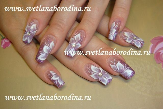Дизайн ногтей блестки с рисунком